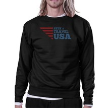 Seek & Travel USA Unisex Graphic Sweatshirt Black Round Neck Fleece - $20.99+
