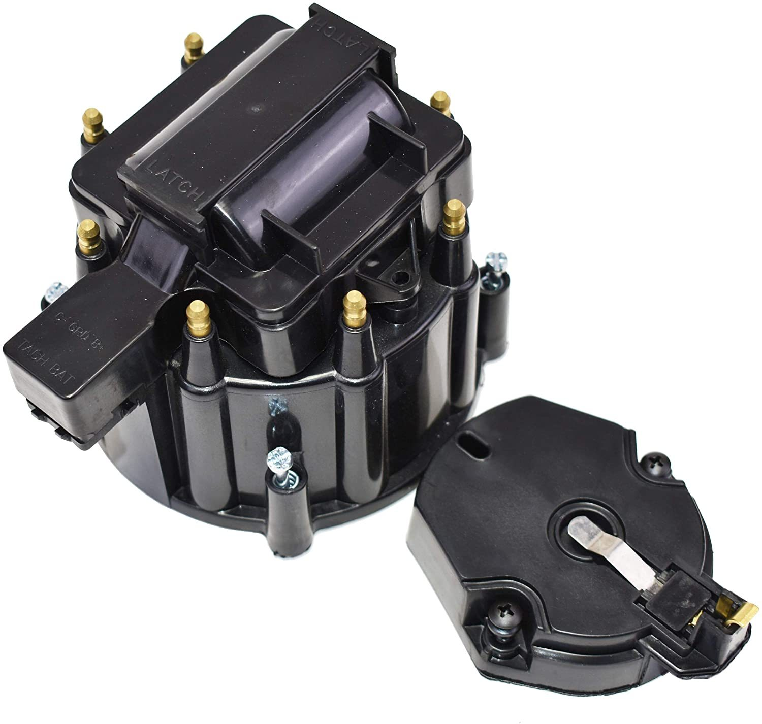 8 CYL OEM Distributor Cap, Rotor & Coil Cover Kit CHEVY GM FORD DODGE BLACK