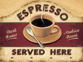 Fresh Coffee Espresso Served Here Cafe Dark Roast Beans Metal Sign - $19.95