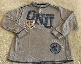 Old Navy Boys Gray Blue ONU Football Vintage Long Sleeve Shirt 8 - $5.48