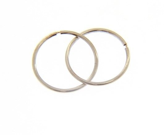 18K WHITE GOLD ROUND CIRCLE HOOP EARRINGS DIAMETER 15 MM x 1 MM, MADE IN ITALY
