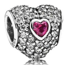 Authentic Pandora In My Heart Charm, Sterling,Clear CZ Synthetic Ruby 79... - $60.78