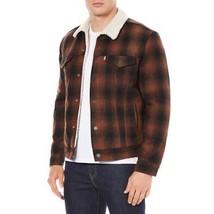 Levi's Men's Premium Button Up Flannel Sherpa Trucker Jacket Burnt Red 163650028