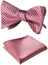 SetSense Men's Houndstooth Jacquard Woven Self Bow Tie Set One Size Red / Gray - $29.40