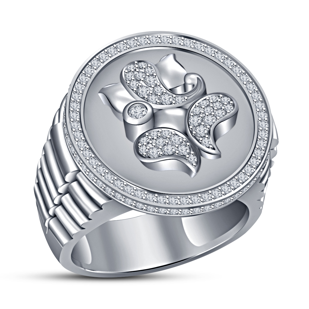 Primary image for Lord Ganesha Diamond Ring Watch Style Ring White Gold Finish 925 Sterling Silver