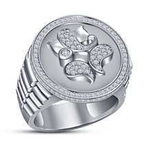 Lord Ganesha Diamond Ring Watch Style Ring White Gold Finish 925 Sterlin... - $78.73