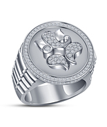 Lord Ganesha Diamond Ring Watch Style Ring White Gold Finish 925 Sterlin... - £72.33 GBP