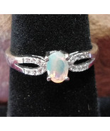 Faceted Welo Opal with CZ crystals Sterling Silver handmade ring adjustable - £31.10 GBP
