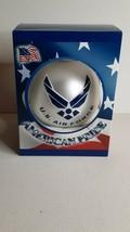 American Pride U.S. Air Force Glass Christmas Ornament NEW White Aim High  - $15.19