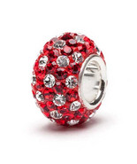Red and White (Clear) Spotted Crystal Bead - £12.68 GBP+
