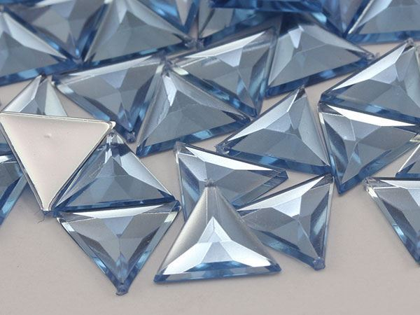 5mm Blue Sapphire Lite A32 Flat Back Acrylic Triangle Gemstones - 150 Pieces