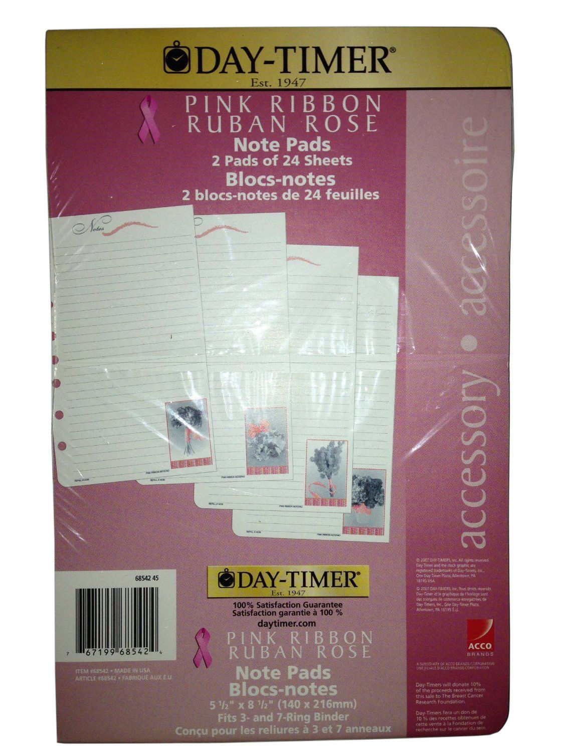 "Primary image for Day-timer ,Pink Ribbon Note Pad, 5 1/2"" X 8 1/2"",2 Pads / 24 Sheets Per Pad"