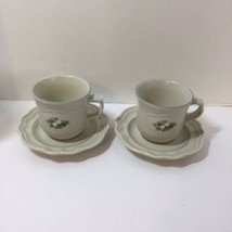 2 Cups and Saucers Pfaltzgraff Christmas Heirloom Holly Coffee Tea - $11.64