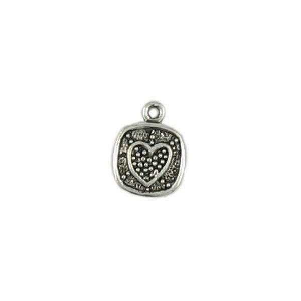 GRANULATED HEART ON SQUARE FINE PEWTER PENDANT CHARM - 13x17x3mm