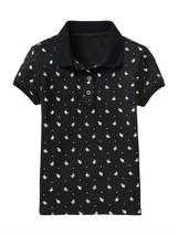 New GAP Kids Girls Short Sleeve Navy Blue Floral Trim Pique Polo Shirt S... - $15.83