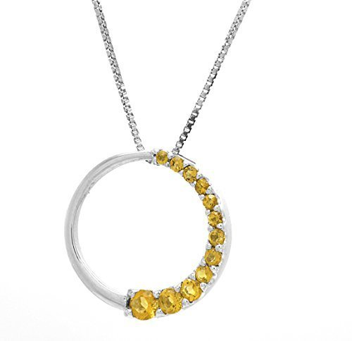 10 k White Gold Genuine Citrine Circle of Love Pendant with Silver Chain