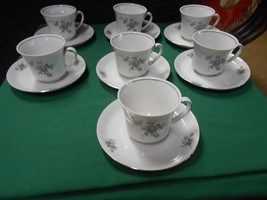 Beautiful Winterling Schwarzenbach Bavaria Germany China Set Of 7 Cups & Saucers - $29.51