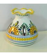 Vintage Czechoslovakian Ribbon Top Vase Handpainted Floral Folkart Marked - $28.99