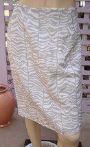 CALVIN KLEIN Natural Beige/White Animal Print Linen/Rayon Pencil Skirt (6) NEW - $19.50