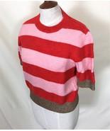 TOP SHOP  Top Sweater 6 Orange Pink Stripe  Short Sleeve Metalic Machine... - $90.00
