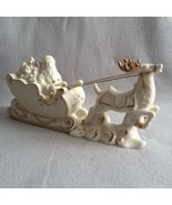 Mikasa Holiday Elegance Figurine Santa Sleigh Reindeer Toys Porcelain Go... - $32.00