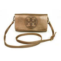 Tory Burch Rose Gold Leather Metallic Logo Clutch Bag Handbag Crossbody ... - $173.25