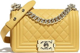 Chanel Yellow Quilted Lambskin Small Boy Flap Bag Womens Bag A67085Y25569 - $4,499.10