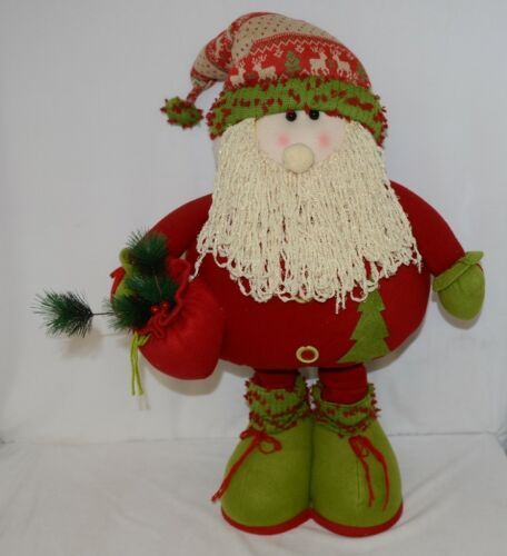 Unbranded All Cloth Stuffed Santa With Metal Frame Self Standing 2 Feet 9 Inch