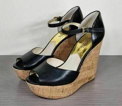 Michael Kors Ivana Wedge Sandal, Black, Womens Size 8.5 M - $58.79