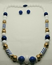 "Fashion Jewelry Blue White Gold Beaded 24"" Necklace & Pierced Earrings Set - $14.24"