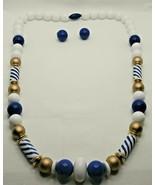 "Fashion Jewelry Blue White Gold Beaded 24"" Necklace & Pierced Earrings Set - $14.24"