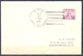 USA 1934 USS NEW ORLEANS FROM***  STOCKHOLM SWEDEN COVER 4557-RD-A1 - $9.90