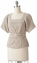 Women Girl Floral Crochet Open Work Sweater Knitted Top Dolman Blouse XS... - $25.99