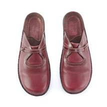 Clarks Artisan Red Leather Mules Flats Slip On Comfort Shoes Womens 7 W ... - $34.47