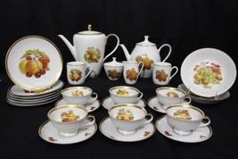29pc Vtg Bareuther FRUITS Tea & Coffee Dessert Set for 6: Cups Mugs Plat... - $179.99