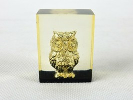 Encased w/Owl Figurine, Miniature Gold Tone Charm Inside Acrylic Block, ... - $9.75
