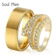 1 Pair Gold Color Wedding Rings Set 8mm Flat Simple for Men Bling Cubic ... - $41.62