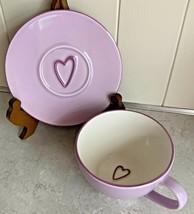 Starbucks 2006 Lavender Purple Cup & Saucer Embossed Hearts Valentine Love 12oz - $36.95