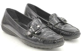 Geox Respira Women Moc Toe Buckle Loafers Size US 6.5N Black Patent Leather - $26.17