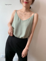 Lady Summer Chiffon Tanks V-Neck Sleeveless Chiffon Tops Summer Wedding Tops