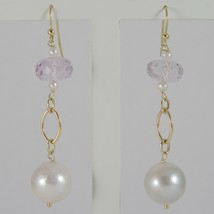 YELLOW GOLD EARRINGS 750 18K HANGING 6 CM, AMETHYST CUT CUSHION AND PEARLS image 1