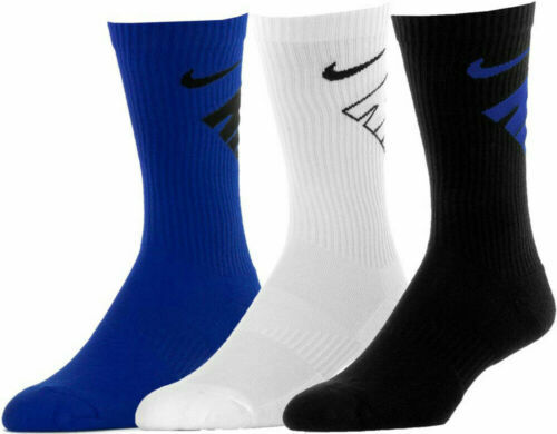 3 Pair Boys Girls Nike Kids Cotton Crew School Socks Black White Grey Swoosh