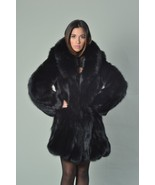 Black Fox Fur Coat Fox Collar Knee Length Women's MEXA - $594.00
