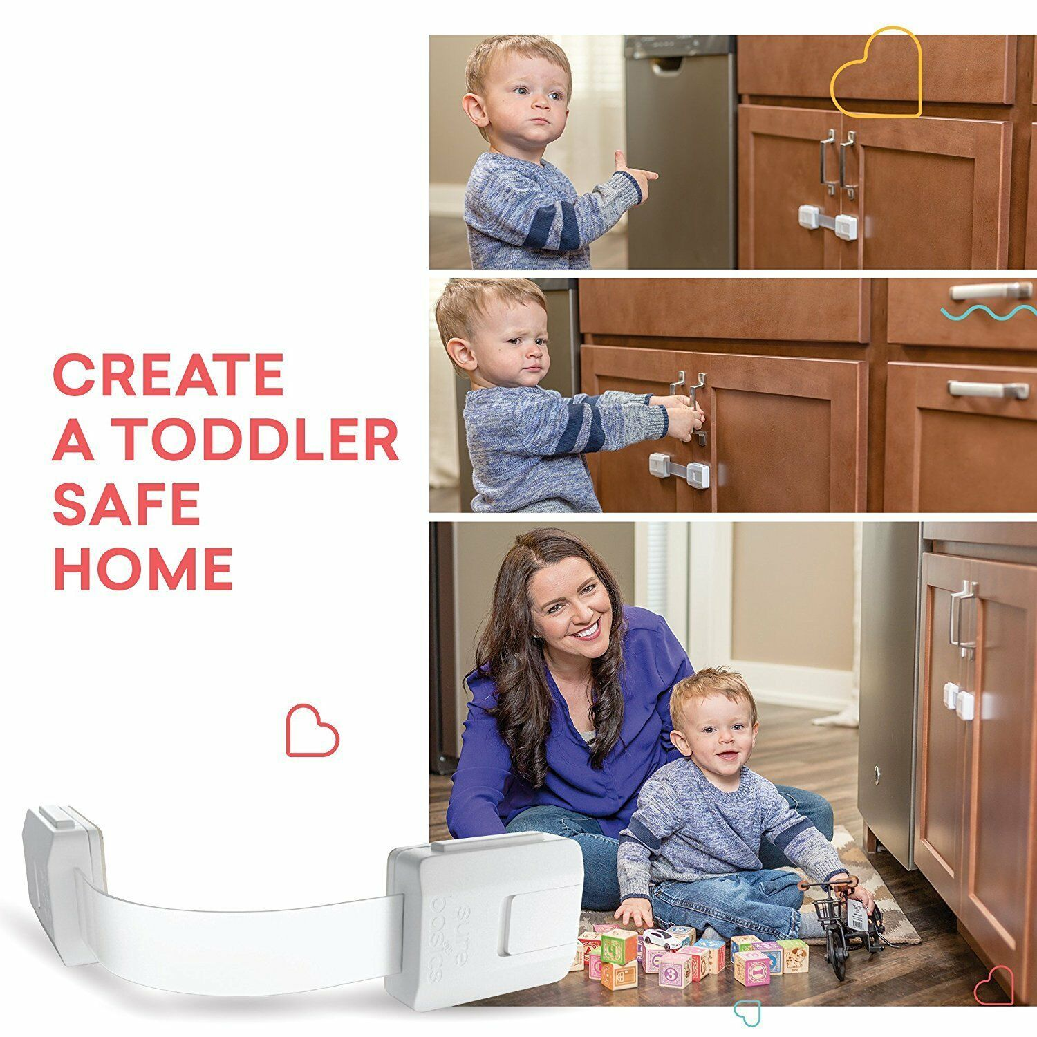 Sure Basics EasyGuard Baby Proofing Cabinet Locks Child Safety 6 Pack Brown