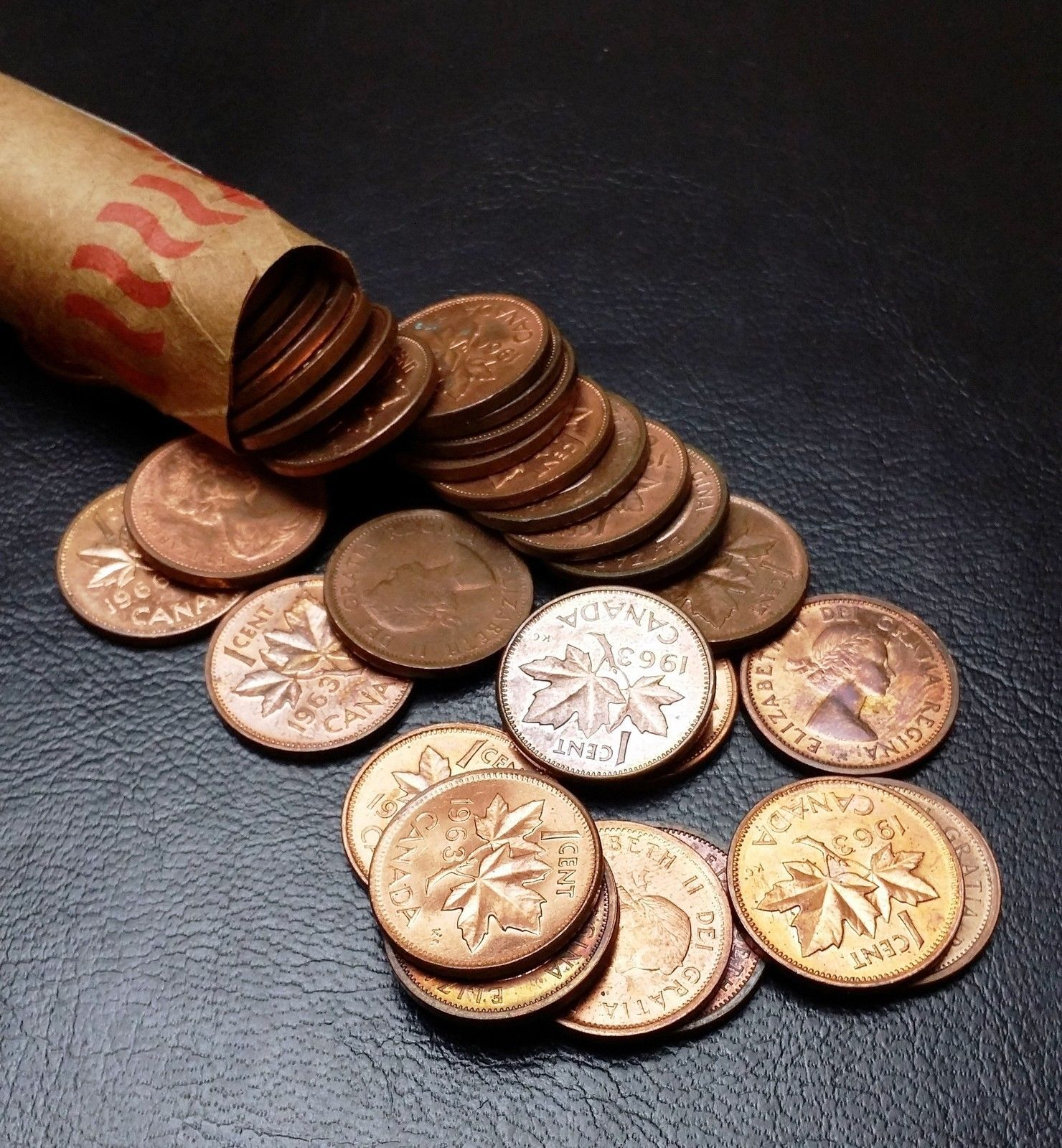 Roll of 1961 Canada Small Cents UNC RED 50 Coins