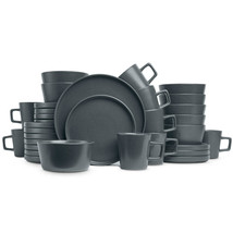 (32-Piece) Stone Lain Modern Ledge Stoneware Dinnerware Set (Gray Matte) - $97.98