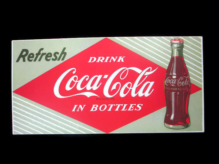 Coca-Cola Textured Tin Sign Refresh Red Diamond Emblem Logo Green Background