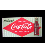 Coca-Cola Textured Tin Sign Refresh Red Diamond Emblem Logo Green Backgr... - $16.34