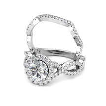 2.00CT Round Moissanite Halo Diamond Engagement Ring Band Set 14K White Gold - $1,316.70+