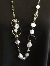 New White Gemstone and Silver Plate Chain Necklace Set No 2, Paparazzi  - $5.00